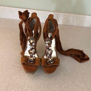Bebe brown tie heels